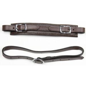 Hackamore remme udført i brun læder med rustfri-/sølvfarvede spænder