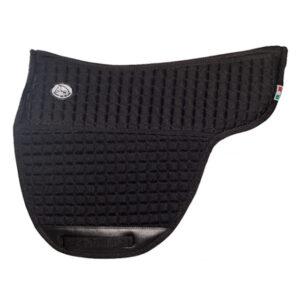 Trykfordelende underlag til brockamp ridepad eller bomløse sadler i sort. Sadelformet med lommer til indlæg.