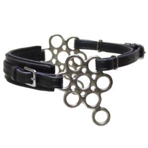 blomsterhackamore i sort læder med stænger i rustfri-/sølvfarve